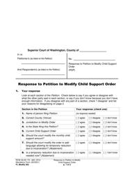 "Form FL Modify502 ""Response to Petition to Modify Child Support Order"" - Washington"