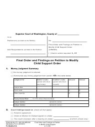 "Form FL Modify510 ""Final Order and Findings on Petition to Modify Child Support Order"" - Washington"