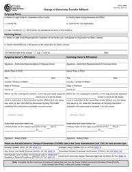 "Form 1092 ""Change of Ownership Transfer Affidavit"" - Texas"