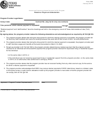 """Form 1598 """"Retainer Payment Attestation"""" - Texas"""