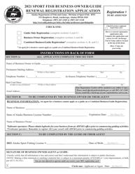 """""""Sport Fish Business Owner/Guide Renewal Registration Application"""" - Alaska, 2021"""