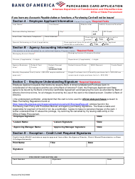 """Purchasing Card Application/Agreement - Bank of America"" - Arkansas"
