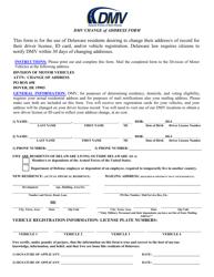 """DMV Change of Address Form"" - Delaware"