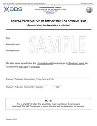 """Sample Verification of Employment as a Volunteer - Amft"" - California"