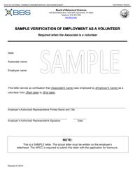 """Sample Verification of Employment as a Volunteer - Apcc"" - California"