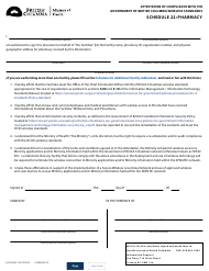 """Form HLTH4555 Schedule 22 """"Attestation of Compliance With the Government of British Columbia Wireless Standards - Pharmacy"""" - British Columbia, Canada"""