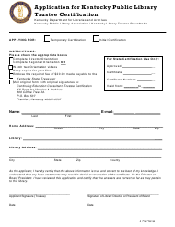 """Application for Kentucky Public Library Trustee Certification"" - Kentucky"