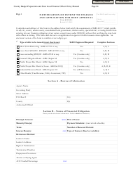 """Form SLDO-1 """"Notification of Intent to Finance and Application for Debt Approval"""" - Kentucky"""