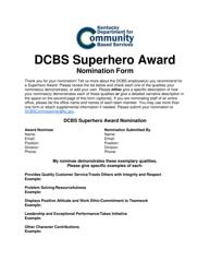 """Dcbs Superhero Award Nomination Form"" - Kentucky"