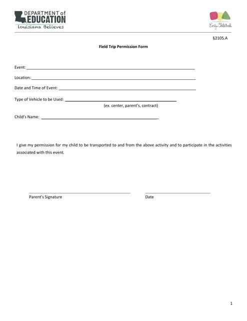 """Field Trip Permission Form"" - Louisiana Download Pdf"