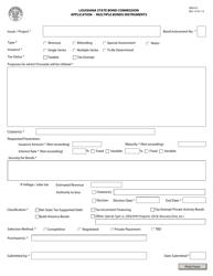 "Form SBC013 ""Application - Multiple Bonds Instruments"" - Louisiana"