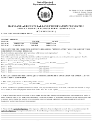 """""""Application for Agricultural Subdivision"""" - Maryland"""