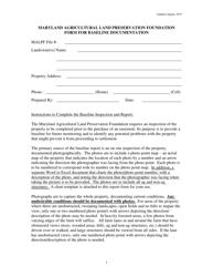 """""""Maryland Agricultural Land Preservation Foundation Form for Baseline Documentation"""" - Maryland"""