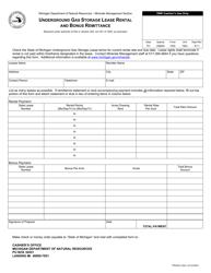 """Form PR4229-2 """"Underground Gas Storage Lease Rental and Bonus Remittance"""" - Michigan"""