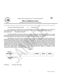 "Form PR4340 ""Metallic Minerals Lease"" - Michigan"