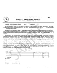 "Form PR4315 ""Nonmetallic Minerals Salt Lease"" - Michigan"