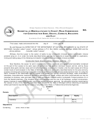 """Form PR4333 """"Nonmetallic Minerals Lease to County Road Commissions for Construction Sand, Gravel, Cobbles, Boulders and Clay"""" - Michigan"""