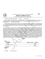 """Form PR4331 """"Nonmetallic Minerals Lease"""" - Michigan"""