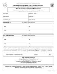 """Form PR9260 """"Snowmobile Trail Permit - Orv License Request"""" - Michigan"""