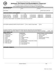 "Form PR6397 ""Appraisal Site Inspection Environmental Checklist"" - Michigan"