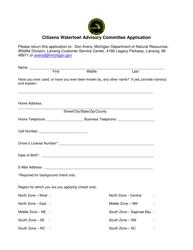 """Citizens Waterfowl Advisory Committee Application"" - Michigan"