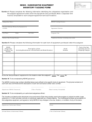 """Form MDHS-PROP-SE01 """"Subgrantee Equipment Inventory Tagging Form"""" - Mississippi"""