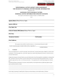 """Form SHP-575 """"Noncriminal Justice Agency User Agreement for Release of Criminal History Record Information"""" - Missouri"""