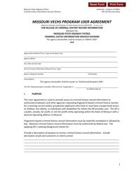 "Form SHP-982 ""Missouri Vechs Program User Agreement"" - Missouri"