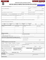 "Form SHP-450R ""Motor Vehicle Inspection Station Application"" - Missouri"