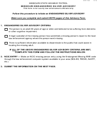 "Form SHP-718C ""Missouri Endangered Silver Advisory"" - Missouri"