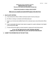 "Form SHP-721C ""Missouri Blue Alert"" - Missouri"
