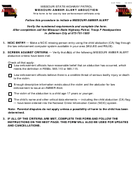 "Form SHP-720H ""Missouri Amber Alert Abduction"" - Missouri"