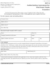 """Form EFT-1 """"Authorization Agreement for Electronic Funds Transfers"""" - Maine"""