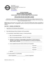 "Form MGCB-RAL-4059 ""Application for Race Meet License"" - Michigan, 2021"