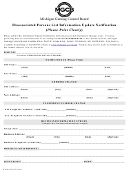 """Form MGCB-AD-1015 """"Disassociated Persons List Information Update Notification"""" - Michigan"""