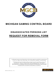 """Form MGCB-AD-2060 """"Disassociated Persons List Request for Removal"""" - Michigan"""