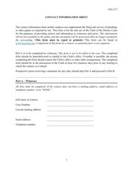 "Form OJA217 ""Contact Information Sheet"" - Kansas"