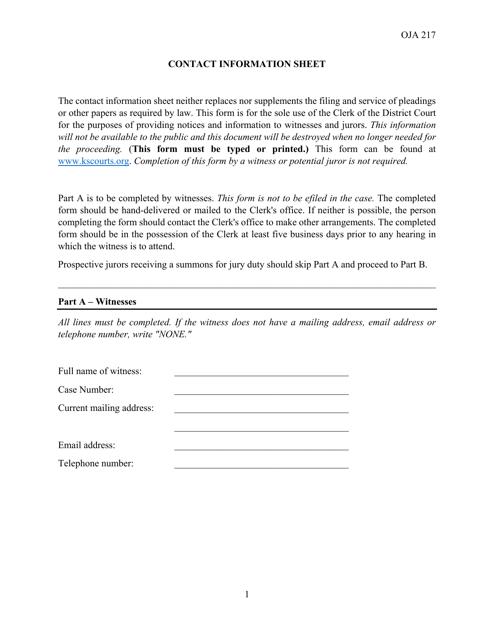 Form OJA217  Printable Pdf