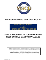 """Form MGCB-AD-2067 """"Application for Placement in the Responsible Gaming Database"""" - Michigan"""