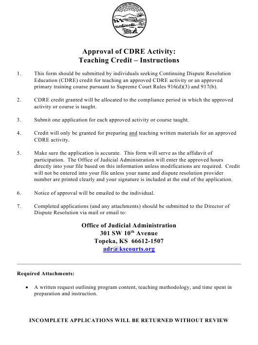 """""""Approval of Cdre Activity: Teaching Credit - Application"""" - Kansas Download Pdf"""