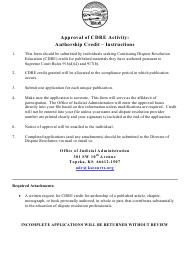 """""""Approval of Cdre Activity: Authorship - Application"""" - Kansas"""