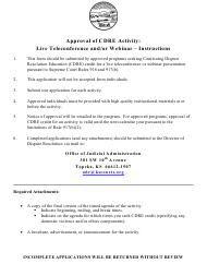 """""""Approval of Cdre Activity: Live Teleconference and/or Webinar - Application"""" - Kansas"""