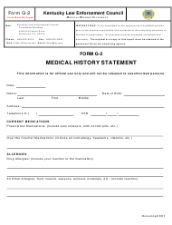 """Form G-2 """"Medical History Statement"""" - Kentucky"""