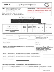 "Form 8 ""Law Enforcement Manager"" - Kentucky"