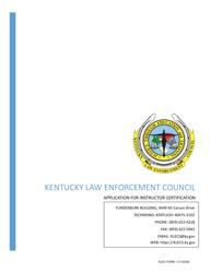 "KLEC Form 1 ""Original Instructor Certification Application"" - Kentucky"