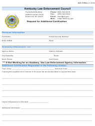 "KLEC Form 6 ""Request for Additional Certification"" - Kentucky"