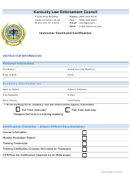 """KLEC Form 5 """"Instructor Continued Certification"""" - Kentucky"""