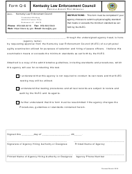 "Form Q-6 ""Physical Agility Test Approval"" - Kentucky"