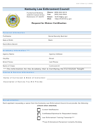 "KLEC Form 8 ""Request for Waiver Certification"" - Kentucky"