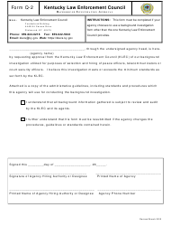 """Form Q-2 """"Background Investigation Approval"""" - Kentucky"""